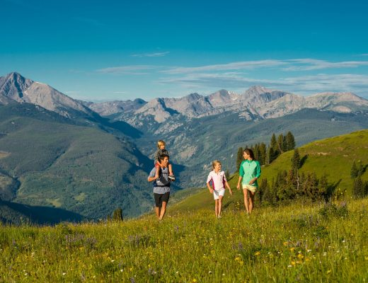 family hiking in vail