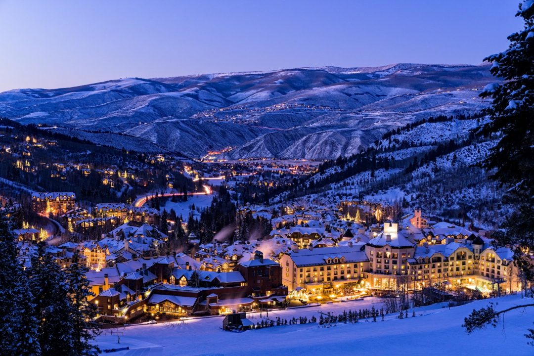 Beaver Creek Resort during night in the winter