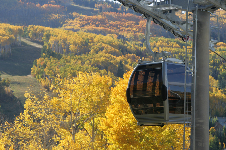 Beaver Creek Gondola with autumn colors in the background.